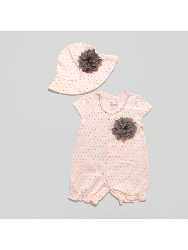 Mini Ropa Çiçek Detaylı Şapkalı Bebek Tulum
