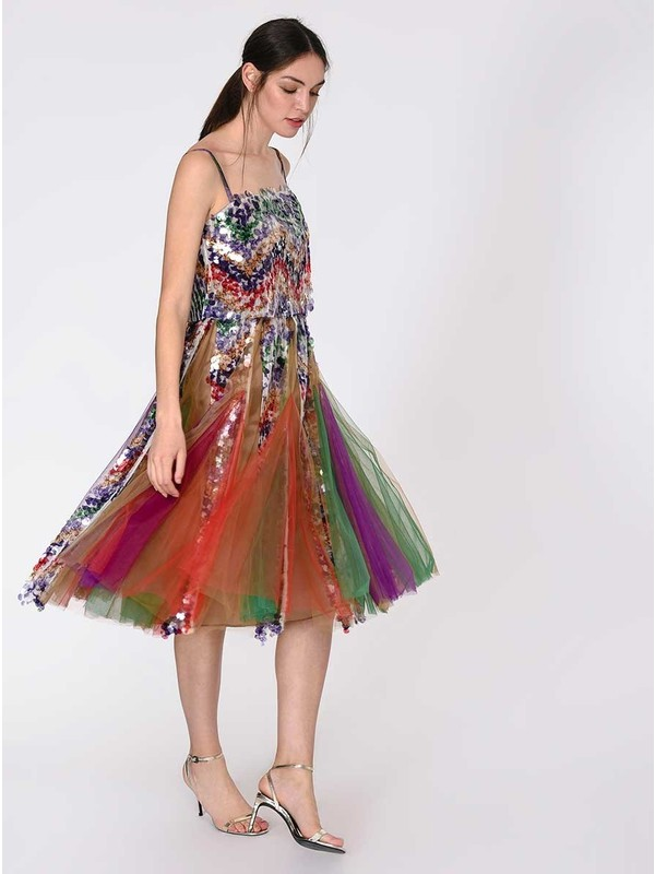 Roman Tül Ve Pul Detaylı Renkli Abiye Elbise