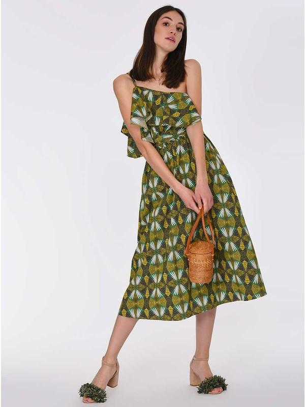Roman Tek Omuz Desenli Elbise-Y1911088-089