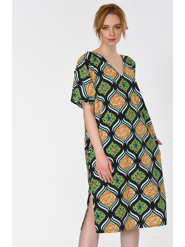 Roman Sırt Detaylı Casual Elbise-Y1911091-089