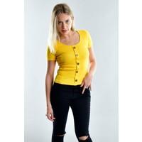 Cotton Mood 20021533 Kaşkorse Önü Düğmeli Kısa Kol Bluz Sarı