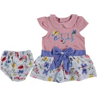 Tofigo Baby Cute Nakışlı 2 Parça Çiçekli Mini Elbise 3 -6 Ay