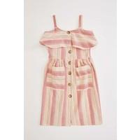 DeFacto Kız Çocuk Çizgili Düğmeli Dokuma Elbise N3051A620SM