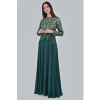 Devri Sultan Alleri Sulu Payet Çiçek Desenli Şifon Abite Yeşil Elbise