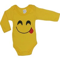 Cantaz Baby 74478 Emoji Baskılı Sarı Badi 12 Ay