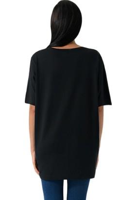 Schmart Nakışlı Oversize Kadın T-Shirt