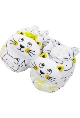 Albimini Kedili Çıngıraklı Bebek Patik Sarı ve Beyaz