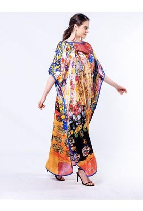 Deriderim Ipek Saten Renkli Elbise