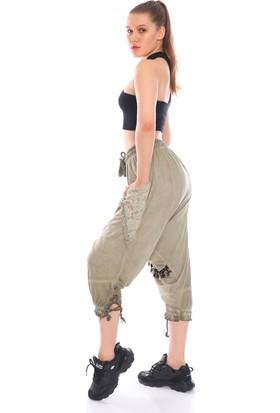 PodiumStar Püsküllü Cepleri Dantel ve Pul Detaylı Etnik Şalvar Pantolon