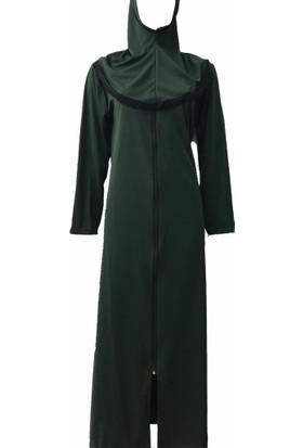 Hazal Namaz Elbisesi Eşarplı Fermuarlı Softjarse Koyu Yesil