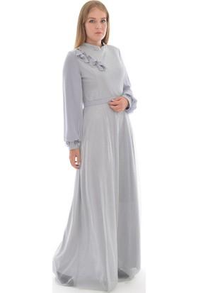Devri Sultan Yakası Ve Manşeti Lazer Güllü Droplu Büyük Beden Tesettür Abiye Gri Elbise