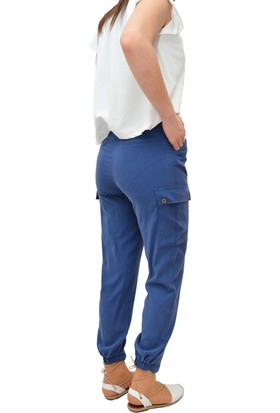 Anitabella Mavi Şerit Kemerli Pantolon