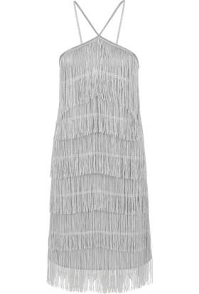 Gusto Püsküllü Abiye Elbise - Gümüş