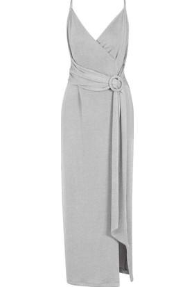 Gusto Simli Uzun Elbise - Platin