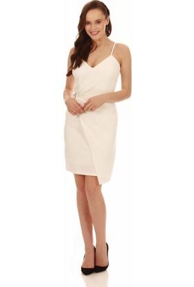 Carmen Ekru Askılı Yandan Tokalı Kısa Abiye Elbise