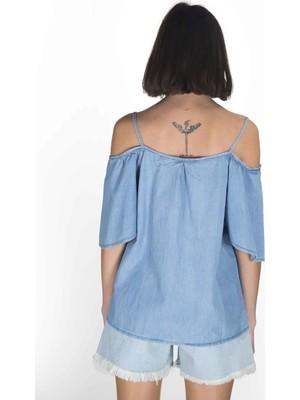 Blue White Kadın Kot Bluz