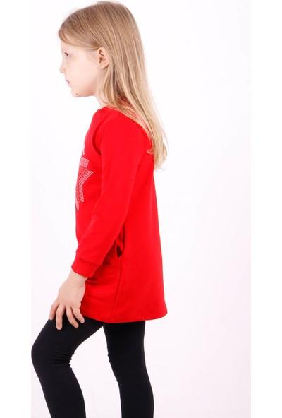 Toontoy Kız Çocuk Cepli Yıldız Nakışlı Tunik