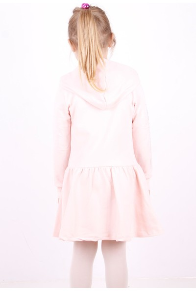 Toontoy Kız Çocuk Kapüşonlu Taş İşlemeli Elbise