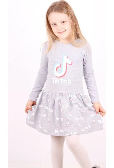 Toontoy Kız Çocuk Tiktok Baskılı Elbise