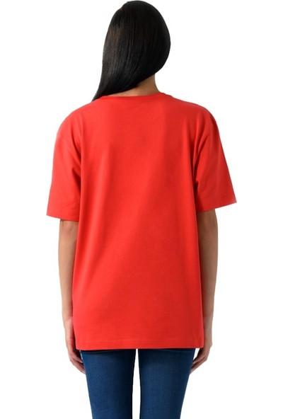 Schmart Nakış Kelime Işlemeli Oversize Kadın T-Shirt