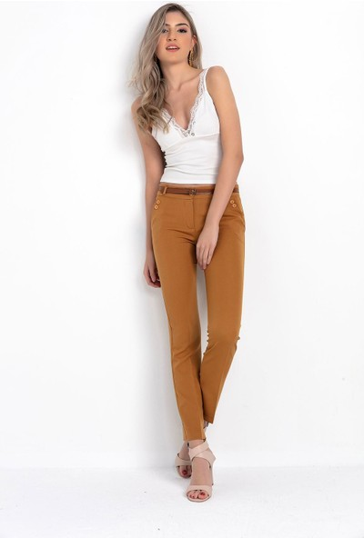 Zafoni Düğme Cep Detaylı Kumaş Pantolon