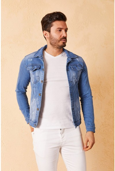 Zafoni Erkek Slim Lazer Tırnaklı Kot Ceket