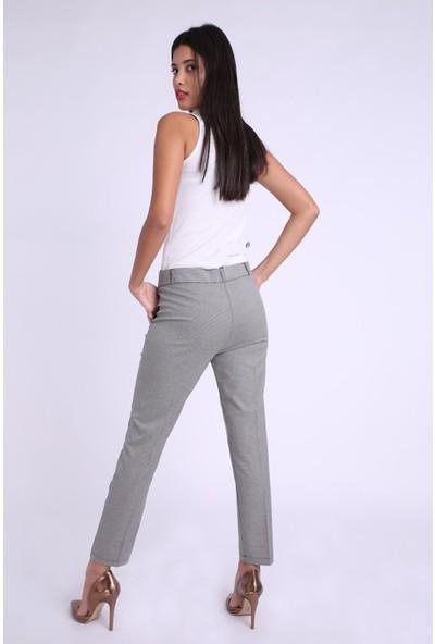 Zafoni Kazayağı Desenli Kadın Pantolon