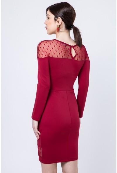 Zafoni Puantiyeli Tül Detaylı Elbise