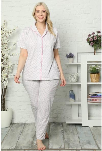 Akbeniz Kadın Pamuklu Cepli Kısa Kol Büyük Beden Pijama Takım 202032