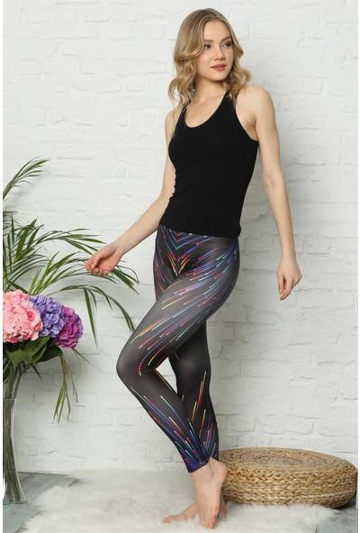 Akbeniz Kadın Desenli Multi Renkli Siyah Tayt 5851