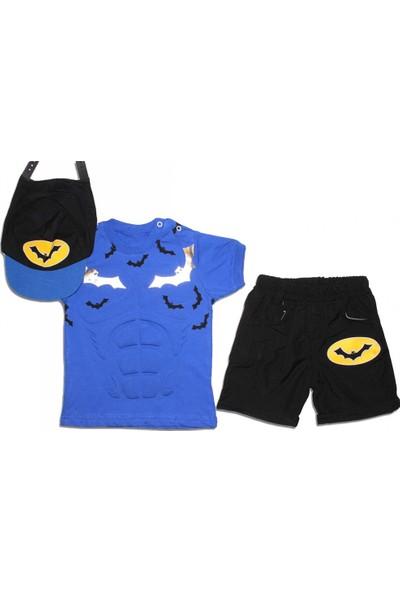 Feyzamavm Gofre Baskılı Mavi Şapkalı Erkek Çocuk Takım