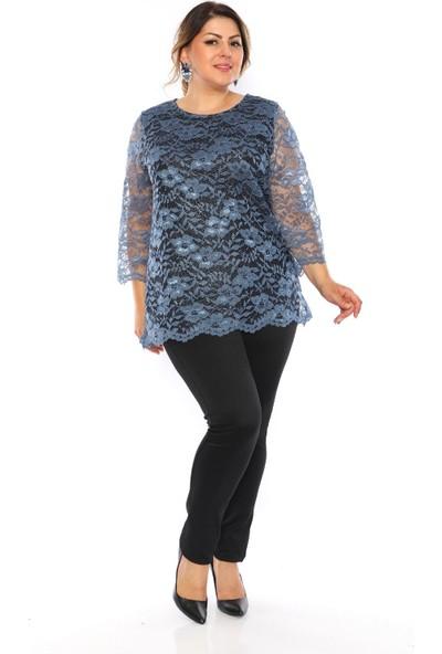Alfa Abiye Kadın Mavi Dantel Bluz Büyük Beden 524
