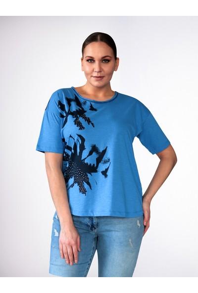Büyük Beden Baskılı Taşlı T-Shirt