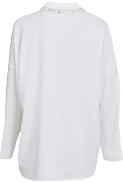 Gilda 4002 Buyuk Beden Bluz Ekru