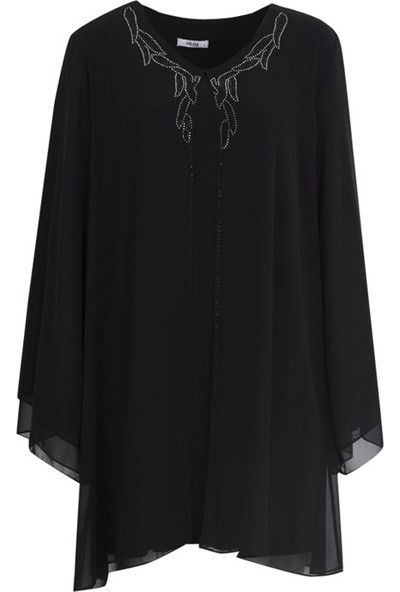 Gilda 45004 Buyuk Beden Bluz Siyah