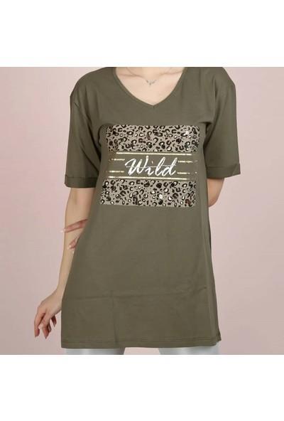 Olivia Önü Baskılı Moda Haki Yırtmaçlı Kadın T-Shirt