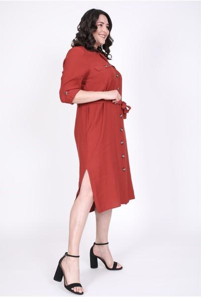 Myline Cepli Kuşaklı Jakarlı Elbise