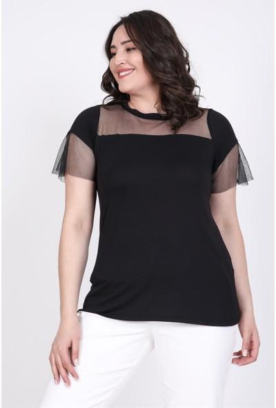 Myline Önü ve Kolları Tül Detaylı T-Shirt