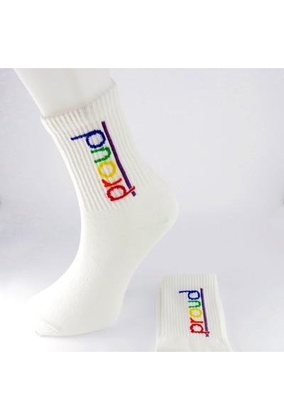 Cool Store Proud Yazılı Unisex Eğlenceli Soket Çorap