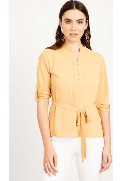 Moda İlgi Bağlama Detaylı Bluz Kadın Bluz 1971044