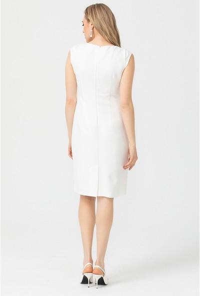 Seçil Düğme Detaylı Diz Boyu Elbise Kadın Elbise 1033581