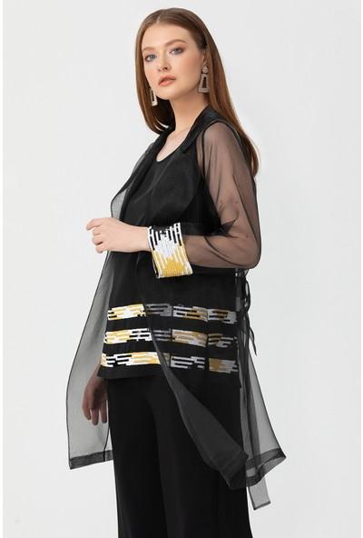 Seçil Şeritli İç Bluzlü Tül Tunik Kadın Takım 1034801