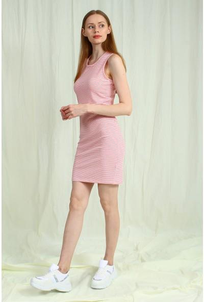 Collezione Beyaz Kadın Cizgili Askılı Elbise