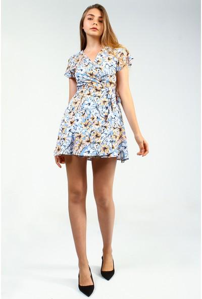 Collezione Mavi Floral Desenli Yan Bağlama Detaylı Mini Kadın Elbise