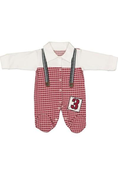 AlpCollection Kırmızı Askılı 0-9 Ay Erkek Bebek Pamuklu Tulum 0-3 Ay