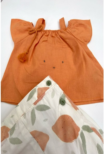 Colored Baby Kız Bebek Limon Şortlu Omzu Açık Takım 3 Parça