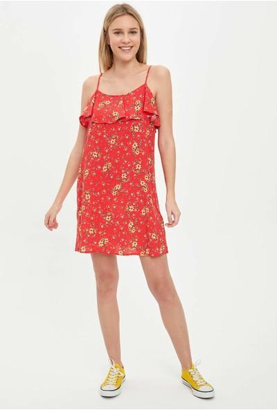 DeFacto Kadın Askılı Çiçek Desenli Fırfırlı Dokuma Elbise