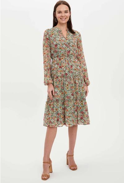 DeFacto Kadın Çiçek Desen Detaylı Dokuma Elbise