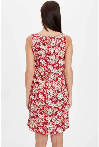 DeFacto Kadın Çiçek Desenli Dokuma Elbise