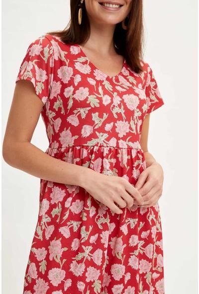 DeFacto Çiçek Desenli Örme Elbise N9770AZ20SM